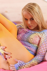 Bri Skies In Orange Fishnets And A Rainbow Top - Picture 1